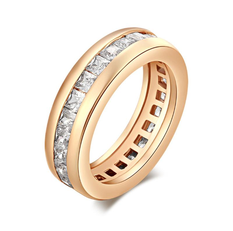 2016 Fashion Engagment Ring 18K Yellow Gold Plated with Square Crystal Cubic Zirconia CZ Band Wedding Rings For Women HR-052