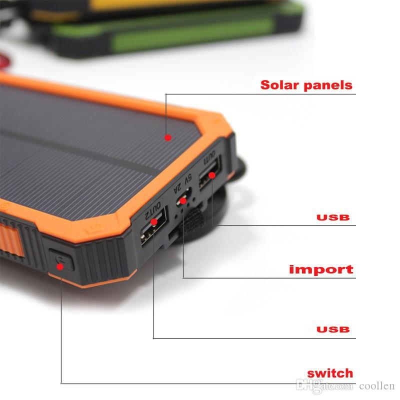 2016 new 20000 mah Waterproof solar power bank bateria externa solar charger powerbank for all mobile phone for pad free shiping