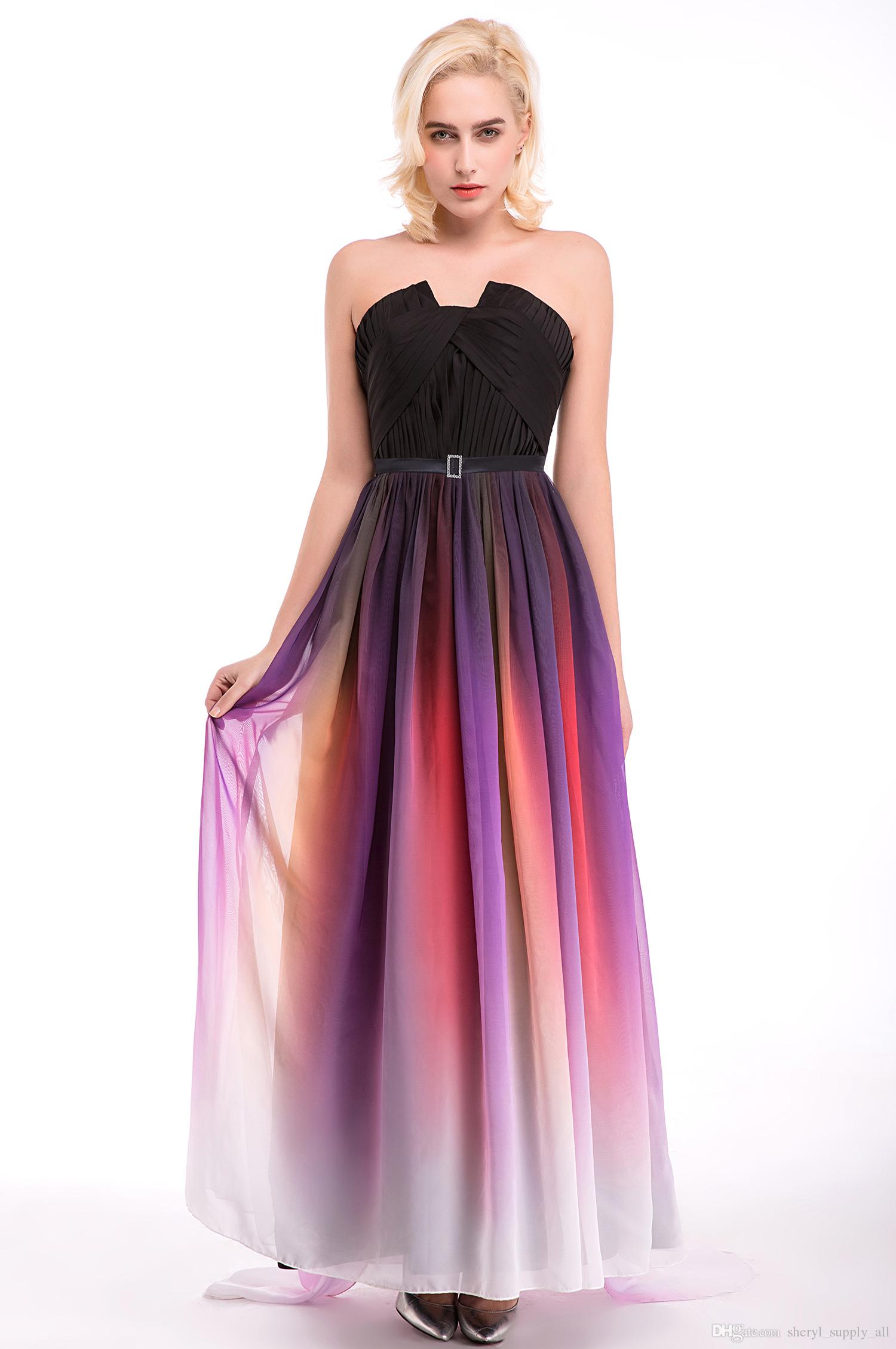 Compre Elie Saab Ombre Strapless Prom Vestidos A Line Sin Mangas ...