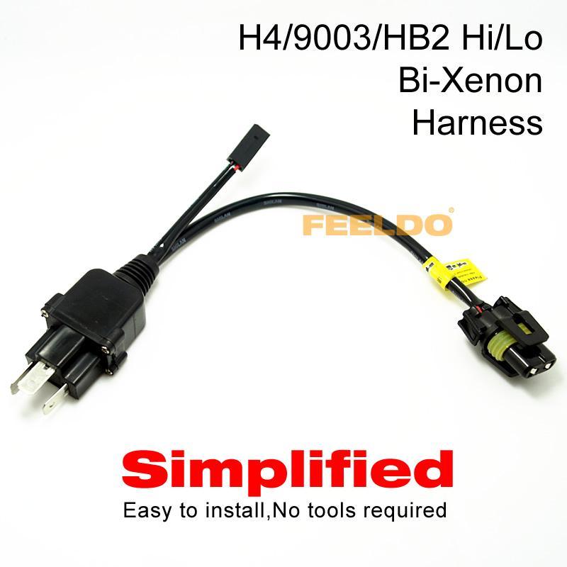 FEELDO Simplified H4/9003/HB2 Hi/Lo Bi-Xenon HID Bulbs Relay Harness on fog lights hook up, lp gas hook up, air conditioning hook up, towing hook up, cruise hook up, tachometer hook up, four wheel drive hook up, motor wiring hook up, generator wiring hook up,