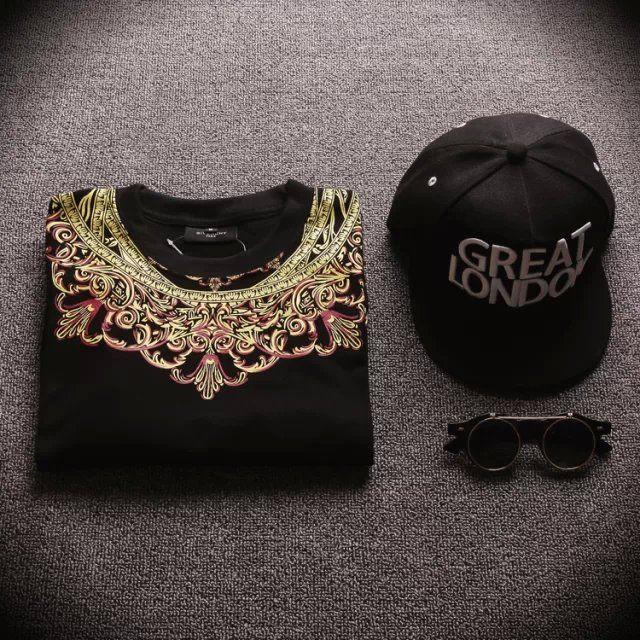 Camiseta de bandana de Londres de marca famosa y sin cremallera Cremallera lateral Estampado floral Camiseta extendida Hombres Hipster Tops Streetwear Hip Hop Tee