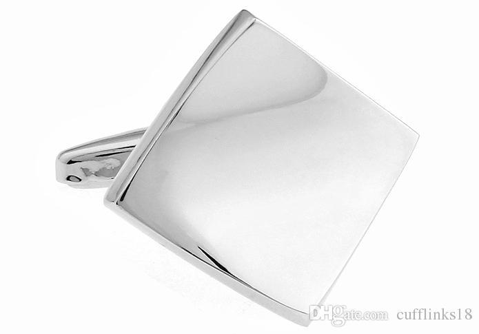 2016 NOVA CHEGADA Homens Elegantes Abotoaduras Brilhante Contorted Simples Quadrado Azulejo Padrão Parafuso Geométrica Botão Manguito Abotoaduras 930057