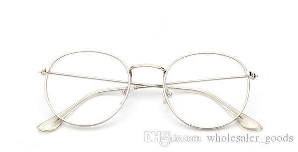 Oval Do Vintage Quadro de Óculos de Ouro 2018 Oval Vintage Transparente Óculos de Armação de Ouro Retro Aço pernas Óculos Óculos Homem Mulheres De Metal Liso