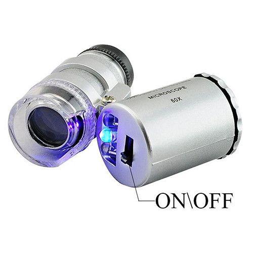 Tasca LED 60X Microscopio Gioielliere Lente d'ingrandimento 60 X Mini lenti di ingrandimento Lenti di ingrandimento Microscopi con luce LED + custodia in pelle + confezione Ultima fantasia
