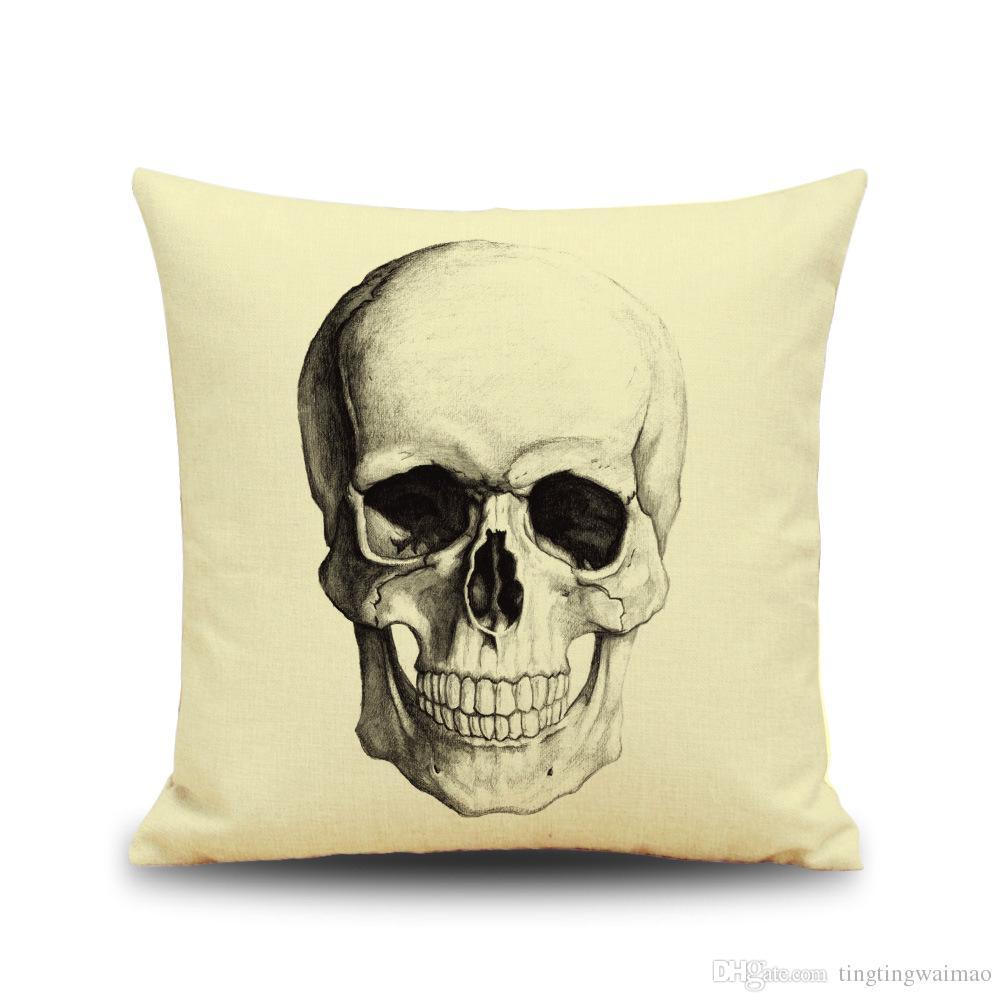 New Halloween Skull 3D digital printing Funny linen pillow cushion pillow festive pillow cover