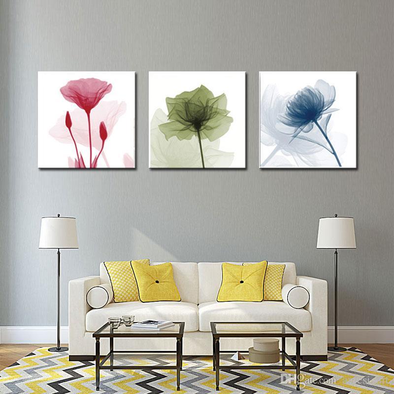 Compre Decoración Para El Hogar Pinturas De Flores Coloridas Sobre ...