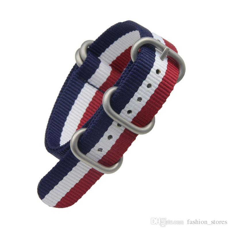 Quality Stripes Nylon Watch Strap Nato Bands For Most Watches with Steel 5-Ring 18mm 20mm 22mm 24mm