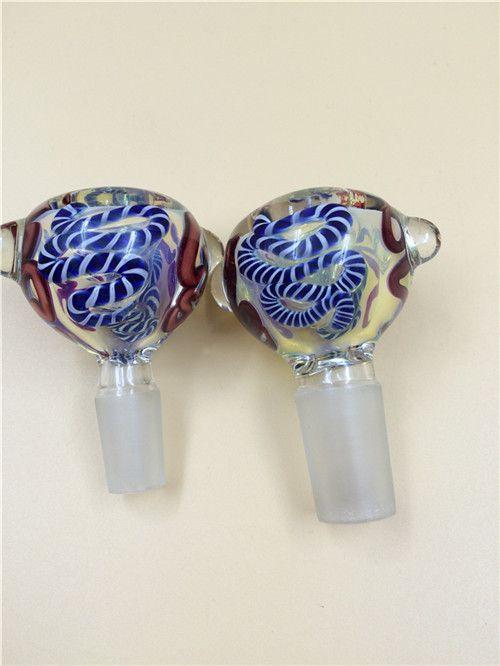 14 millimetri 18 millimetri ciotola di vetro di sesso maschile il vetro pipa ad acqua in vetro bong narghilè accessorio di fumare con i modelli colorati
