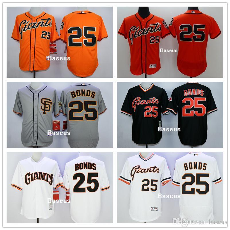 848200103 2017 New Mens San Francisco Giants 25 Barry Bonds Grey Baseball Jersey Mlb  Player Uniforms Men ...