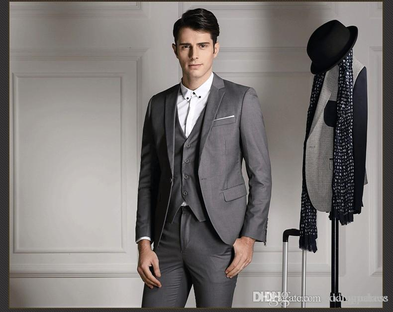 2018 Latest Gray Slim Fit Men Wedding Suits Fashion Bridegroom ...