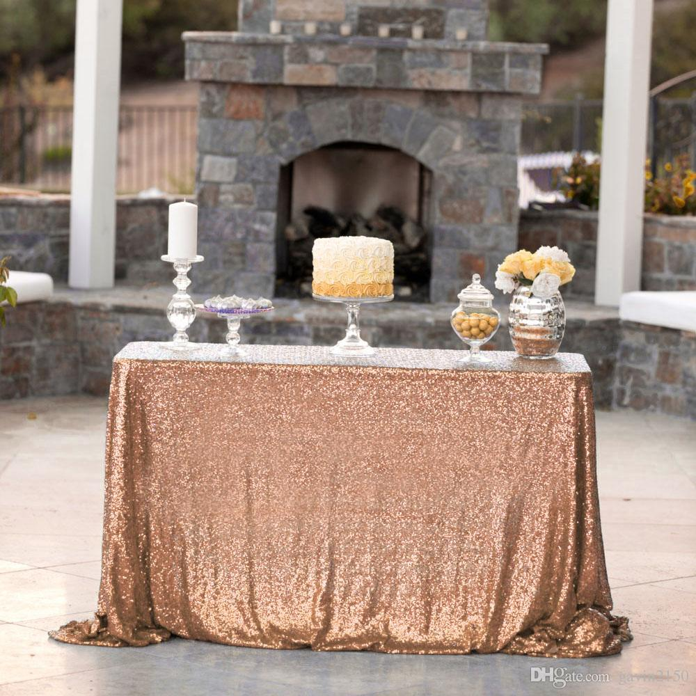 High Quality Rectangular 48*72inch Gold Sequin Table Cover Tablecloth For Wedding Banquet Party Decoration