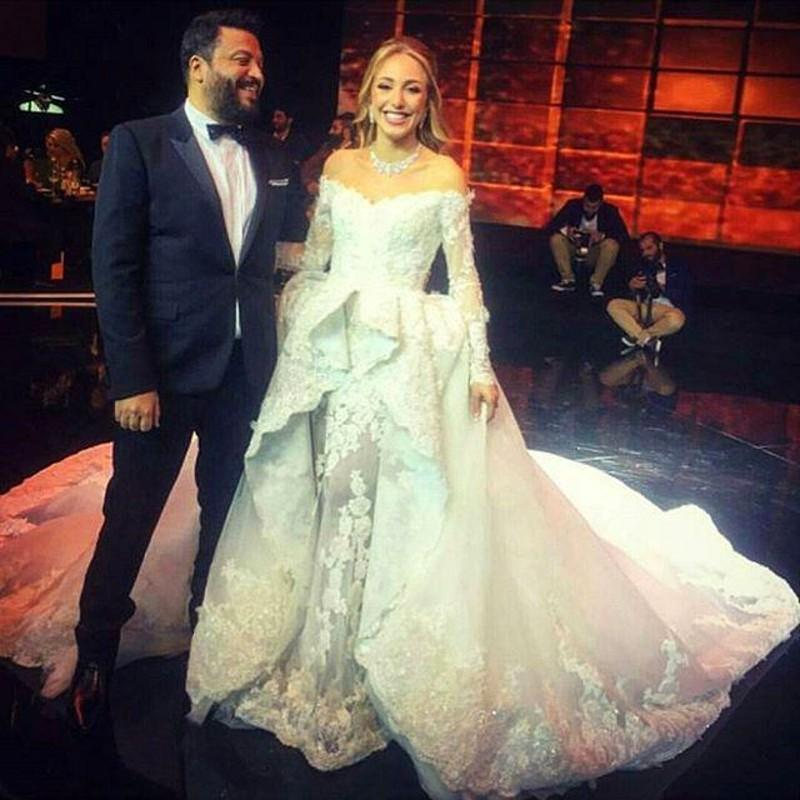2016 Zuhair Murad Wedding Dresses Lace Long Sleeves ff Shoulder Over Skirts Sweep Train Detachable Train Bridal Gowns New Arrival