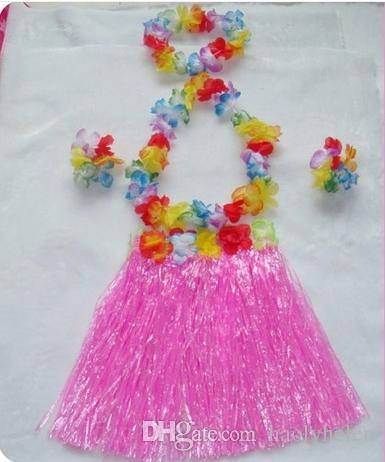 Wholesale Hawaiian Hula Grass Skirt Set 40cm Luau Flower Skirt Flower Lei Bracelet Headband Children Kids