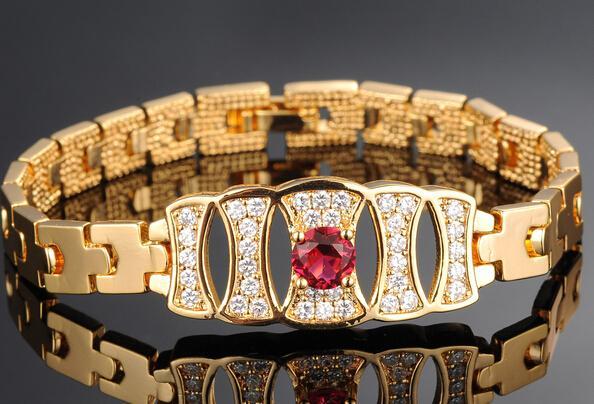 18k Gold Woman Crystals Bracelet Elegance Fashion Bride Lady Jewelry New Style Hot N428