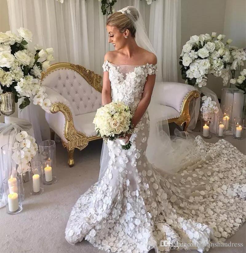 a89364868317 2018 Gorgeous White 3D Floral Applique Wedding Dresses Off Shoulder Mermaid  Wedding Gowns Court Train Long Bridal Dress Custom Made Backless Mermaid  Wedding ...