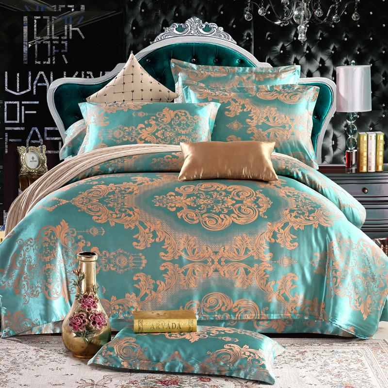 Jacquard Mulberry Silk Bedding Set Satin Bed Linen/Bedclothes Queen King  Size Including Duvet Cover Bed Sheet Pillowcases King Size Comforter King  Duvet ...