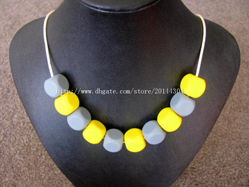 DIY Silicone Teething Bead /Nursing Necklace BPA Free, FDA Approved Food-Grade Silicone!Nursing Chewelry Necklaces/Trendy Teething Toy-M47