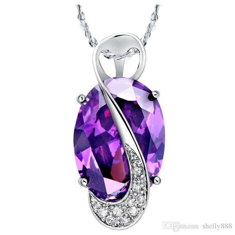 925 silver high quality jewelry set Austria Amethyst crystal Necklace Ring Earrings best price factory wholesale woaman party accory gift