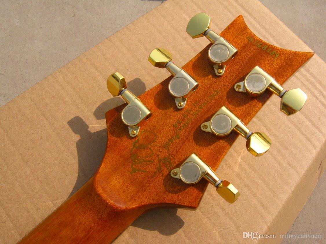 A guitarra nova do OEM RPS da guitarra nova da vinda, azul vê completamente, parte superior do corpo com o inlay da pérola da lua do pássaro!