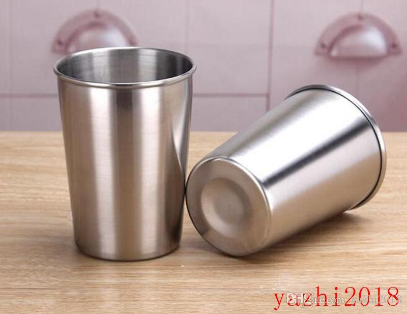 50PCS 500ML Stainless Steel Cups 16oz Tumbler Pint Glasses Metal Cups Hand Beer Cup Drinking Accessories