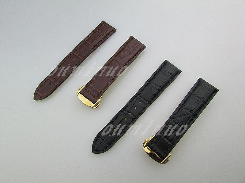 20mm o 22mm Nueva alta calidad Negro y de Brown del cuero auténtico de la correa del reloj de Bandas con oro de corchete por Omega Watch