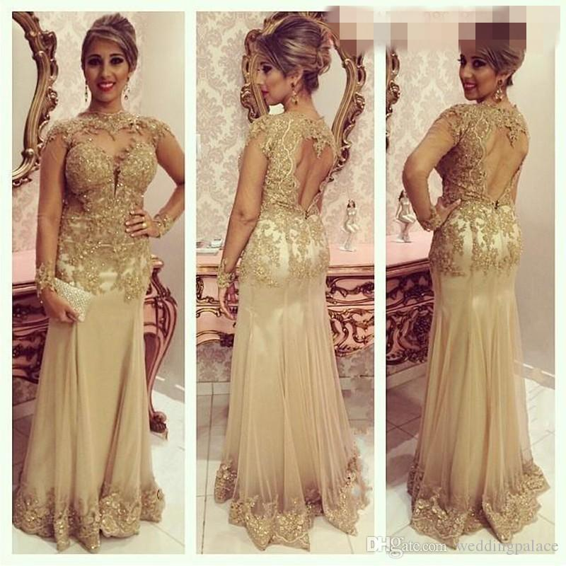 Sexy Long Evening Dresses High Neck Long Sleeve Lace Beads Formal Prom Dresses Open back Women Mother Of Bride Dresses