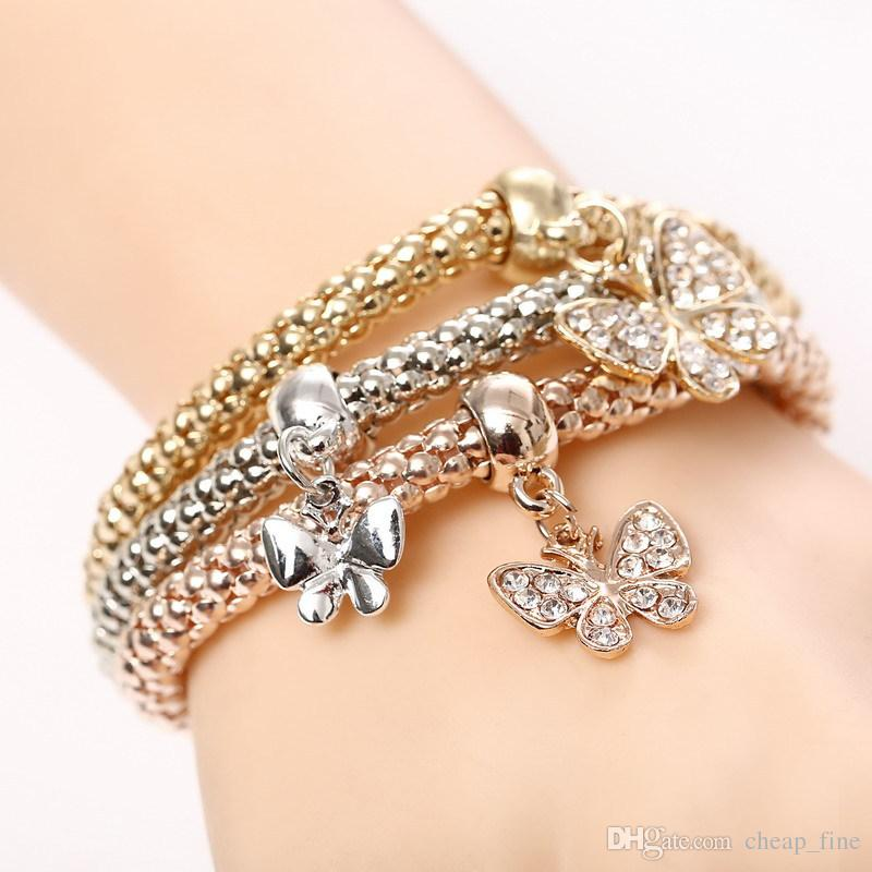 Fashion Elasticity Key Lock Pendant Charm Bracelets for Women Rose Gold Silver Bracelets & Bangles