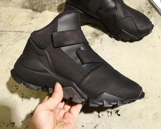 Autunno e inverno Y3 scarpe da uomo in pelle nera guerriero alta aiutare le coppie scarpe casual aumentato fondo spesso
