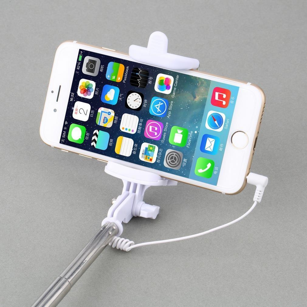 مع مربع التجزئة العالمي 13.5 سنتيمتر البسيطة السلكية للتمديد البعيد monopod selfie عصا الذاتي القطب ملصق ل فون الهاتف المحمول جودة عالية