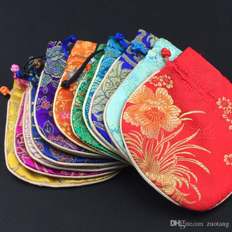 El algodón llenó los pequeños bolsos de lazo de la tela de seda para la bolsa de almacenamiento de las artesanías del regalo de la joyería venta al por mayor /