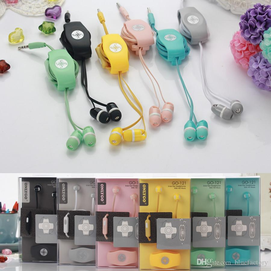 Headset In Ear Earphone with Mic 3.5mm Onlygo Headphone Multi colors Cable Wire Holder Winder Organizer for iphone 6 Cell Phone MP3 ipod