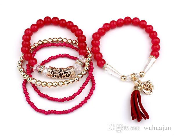 Fashion Multi Bracelets Women Mix Beads Elastic Bracelet Alloy Flower Tassel Pendant Bracelet Red/Black/Beige/Blue