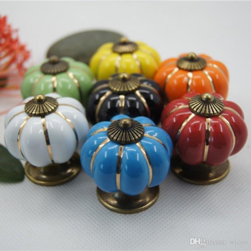 Móveis vintage Lidar Com Abóbora De Cerâmica Maçanetas Da Porta Do Armário Lida Com Móveis Gaveta Armário Cozinha Pull Handle