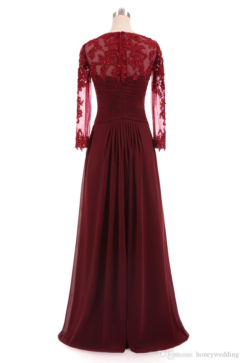 Burgundy Evening Dresses Long Sleeves Lace Appliques Pleated Chiffon Formal Dresses Evening Wear For Women Cheap Plus Size Real Photo