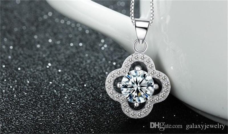 YHAMNI Fine Jewelry Solid Silver Necklace Clover Shape Set 1 ct SONA CZ Diamond Necklace pendente le donne Gioielli da sposa 4Y