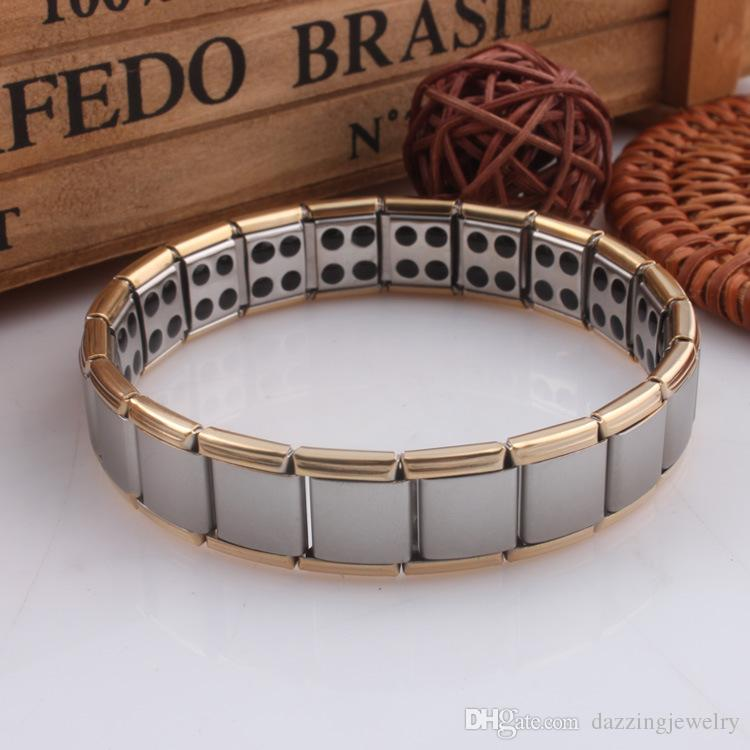 Fastion Lover Couple's Men Women Quantum Bio Energy Health stainless steel Stretch Bracelet Jewelry with Germanium Magnetic Stone
