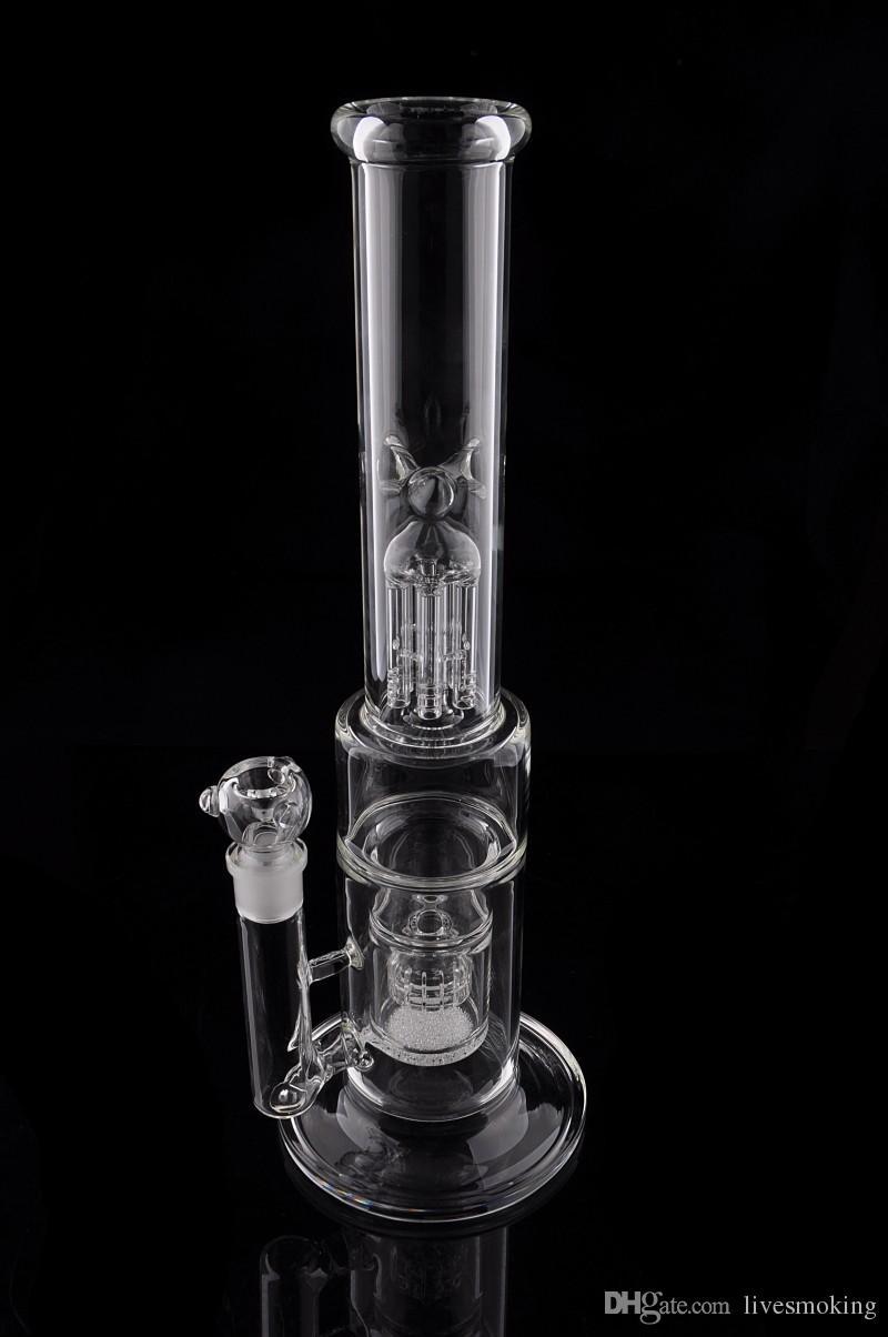 Hohe qualität 41 cm Hohe Glas rauchen bongs 6 arme baum percolator ölplattformen glas bongs vogelkäfig matrix percolator rauchen wasserpfeife