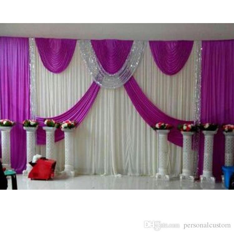 Acheter New 3m Arrivée 6m Violet Backdrop De Mariage Swag Parti