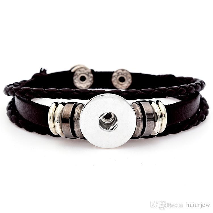 Multilayer Lederarmband Noosa Chunk 18mm Metallknopf Armband Ingwer Druckknopf Erklärung Schmuck Großhandel Snap Schmuck Snap Armband