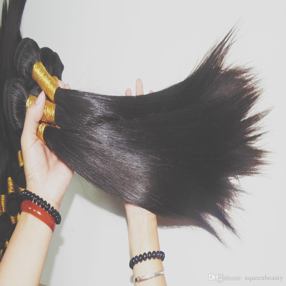 الفاخرة سوبر مزدوجة مرسومة بوندي المنك مستقيم 300 جرام / الكثير النسيج العذراء الهندي الإنسان الشعر الحرير