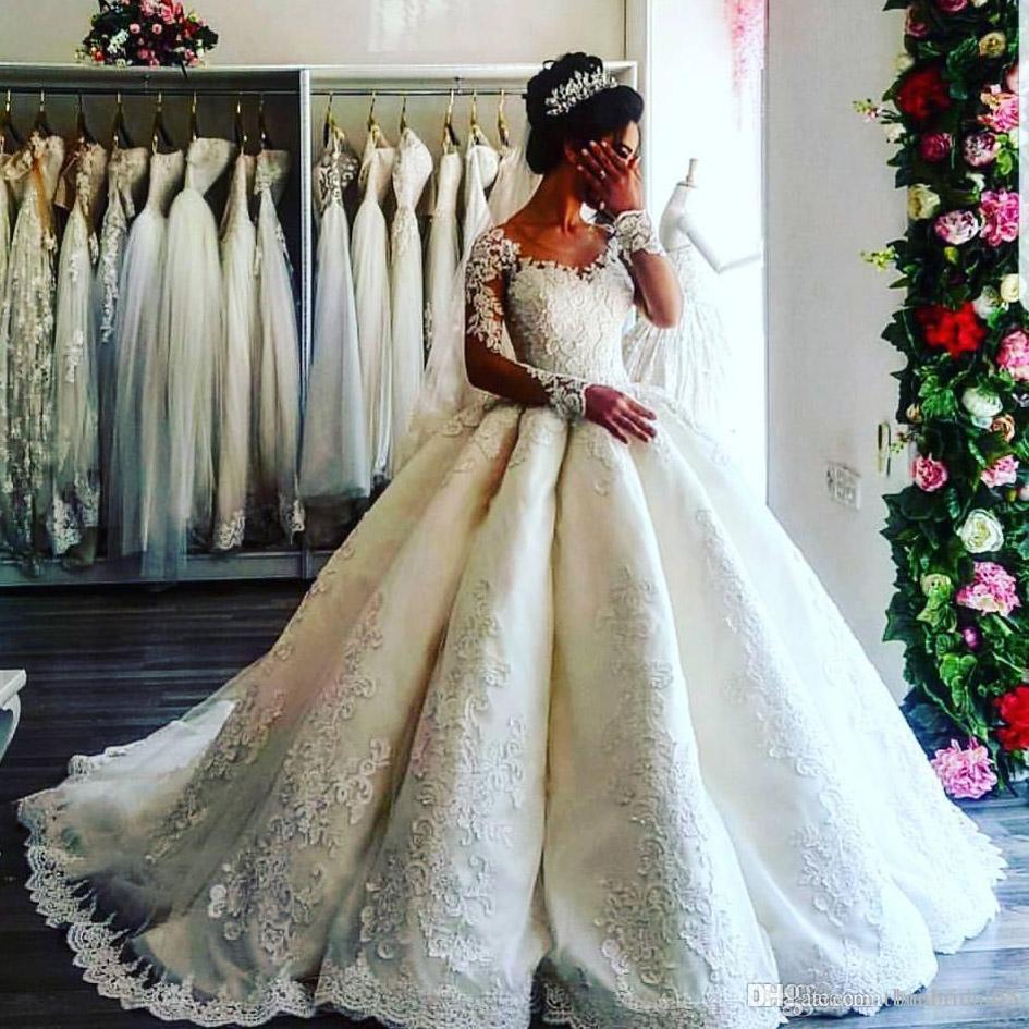 Custom Made Robe De Bal Robe De Mariée Avec Manches Longues Robe De Noiva Dentelle Appliques Robes De Mariée Cour Train Robe De Mariage