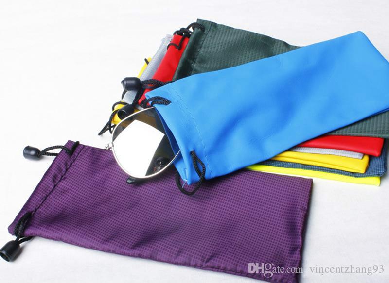 Óculos de sol de plástico à prova d 'água de couro bolsa de óculos macios saco de óculos caso muitas cores misturadas 17 * 9 cm