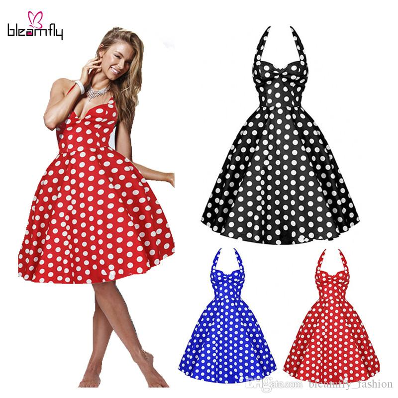 35d2a60d66e3a NEW 50s 60s Retro Vintage Dress Womens Summer Plus Size Pin Up Robe  Rockabilly Party Dresses Polka Dots Vestidos De Festa Dresses For Women  Long White ...
