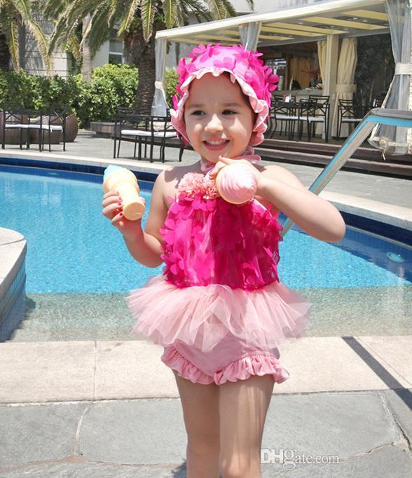 Hot Summer Baby Girls Swimwear Flowers Princess Lace Tutu Skirt Tops Dress Shorts With Cap Kids Children Swimsuit Bathing Suit 11854