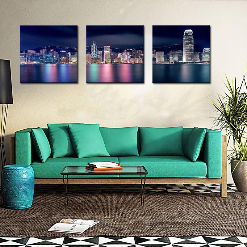 City Paintings Wall Art Decor Hong Kong Puerto Victoria en la noche 3 paneles Impresión de lienzo para decoración moderna