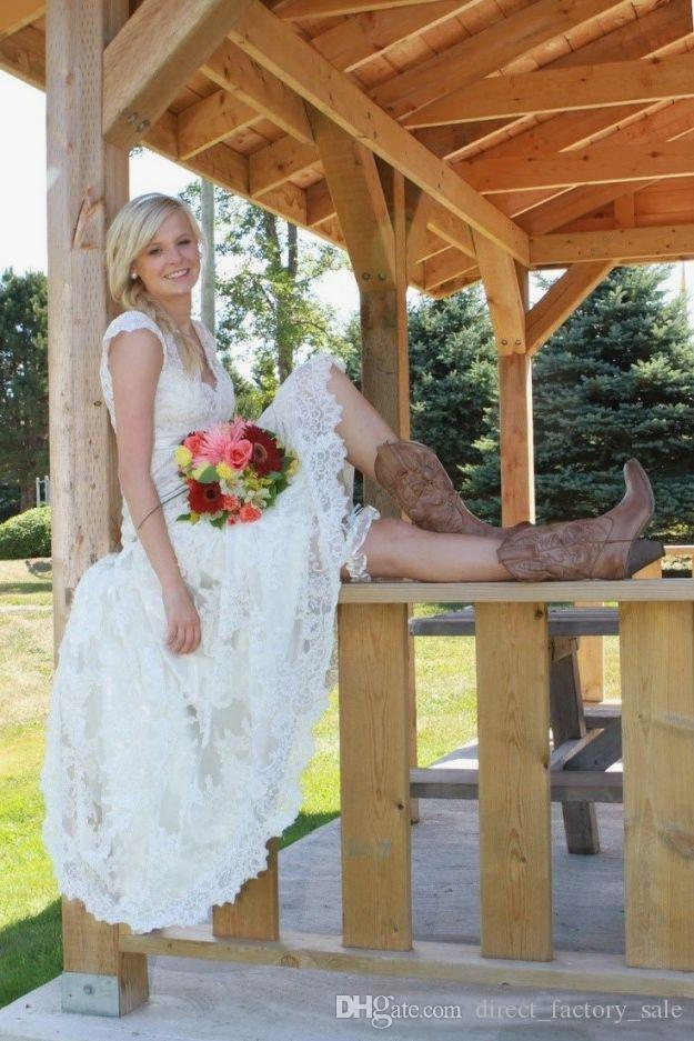 Tea Length Wedding Dresses 2016 Vintage Full Lace V Neck Cap Short Sleeves Country Western Boho Cheap Designer Modest Bridal Gowns Spring