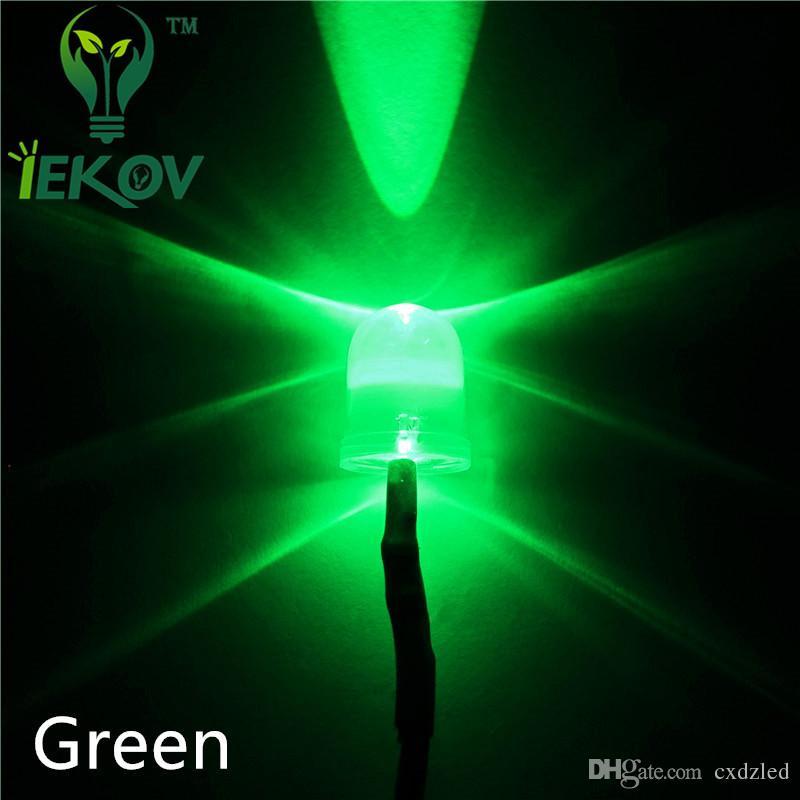 500 unids 10 MM Redonda Verde Superior Leds Precableado Resistencia 12 v DC 20 cm LED Emisión de Luz Diod Para El Coche DIY de Alta Calidad VENTA CALIENTE