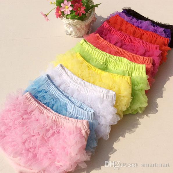 Детские PP шорты милый ребенок девушки короткие брюки хлопок слои шифон трепал новорожденных Bloomer сплошной цвет шорты дети пеленки обложки
