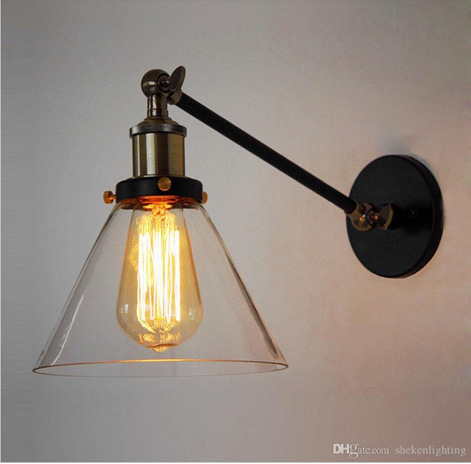 American Country Loft Loft Swing Arm Wall Sconce Retro Warehouse Ambient Lighting Glass Lampshade Industrial Style Wall Lamp