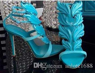 Kardashian Luxe Femmes En Daim Cruel D'été Pompes Poli Doré Feuille De Métal Ailé Gladiateur Sandales À Talons Hauts Chaussures Avec Boîte d'origine